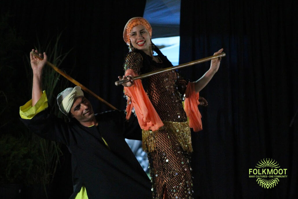Dancers from Egypt's National Folkloric Dance Troupe perform at Folkmoot's Gala Under the Stars, 2019. Stephen Wenzel photo