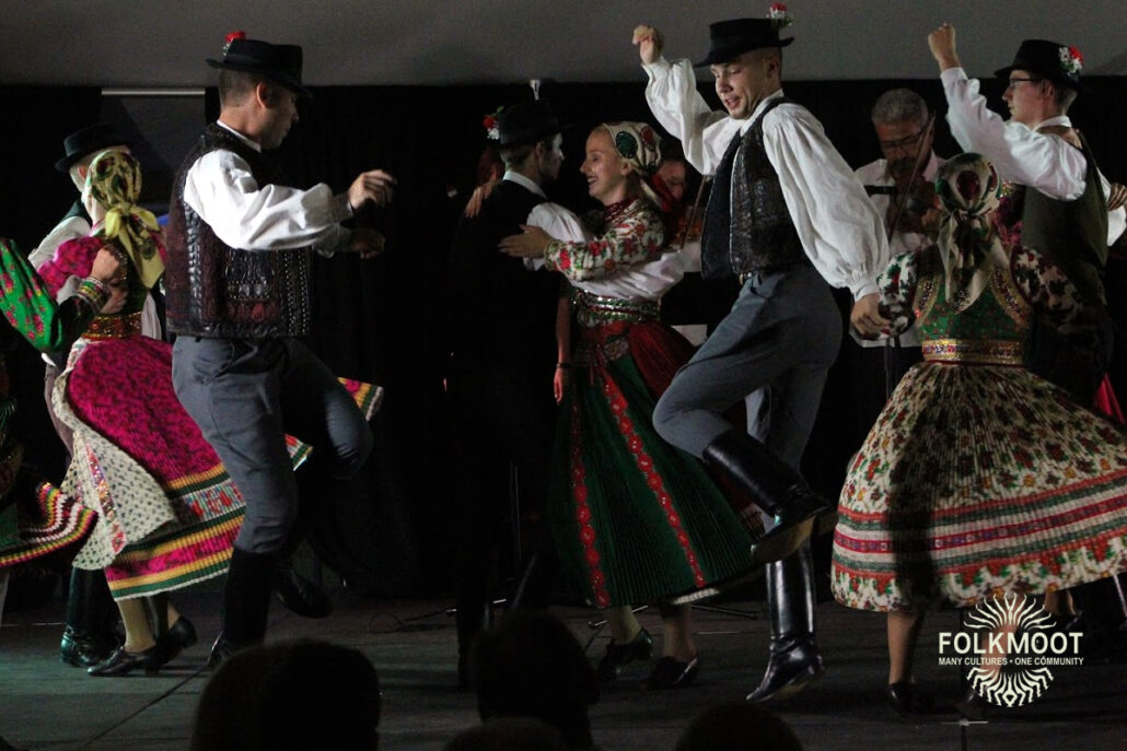 Dancers from Hungary entertain at the Folkmoot Gala Under the Stars, 2019.