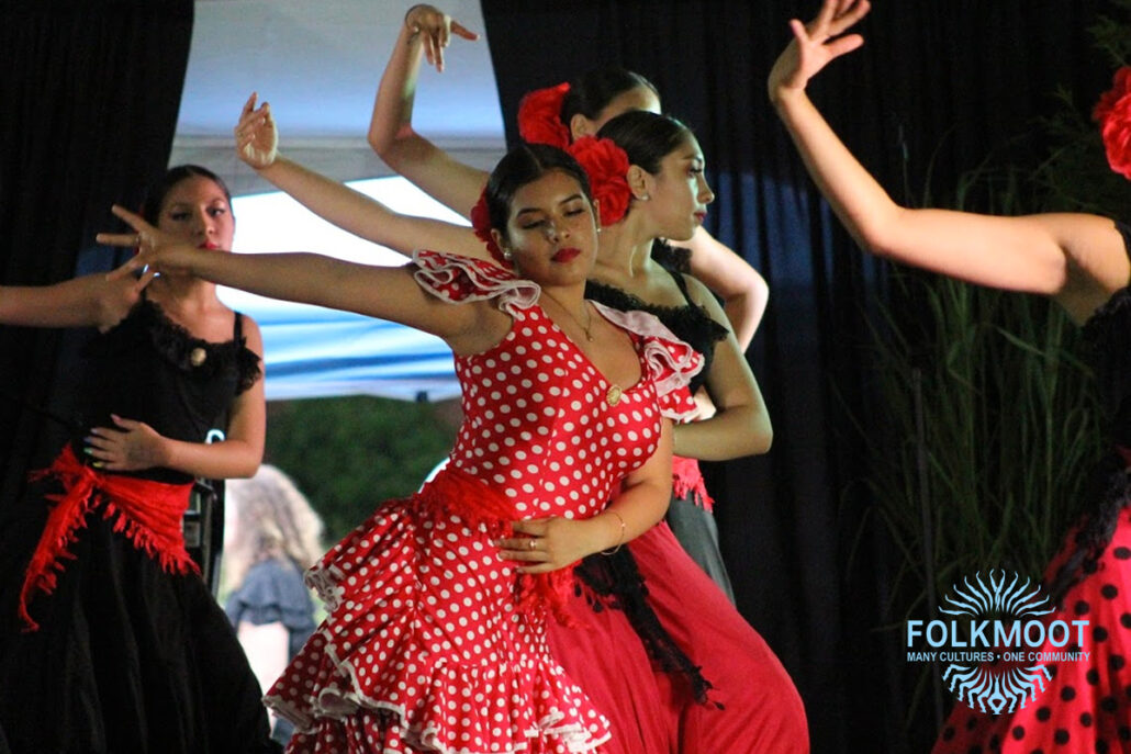 Dancers from El Alma de la Luna Dance Academy represent Spain at the Folkmoot Gala Under the Stars.
