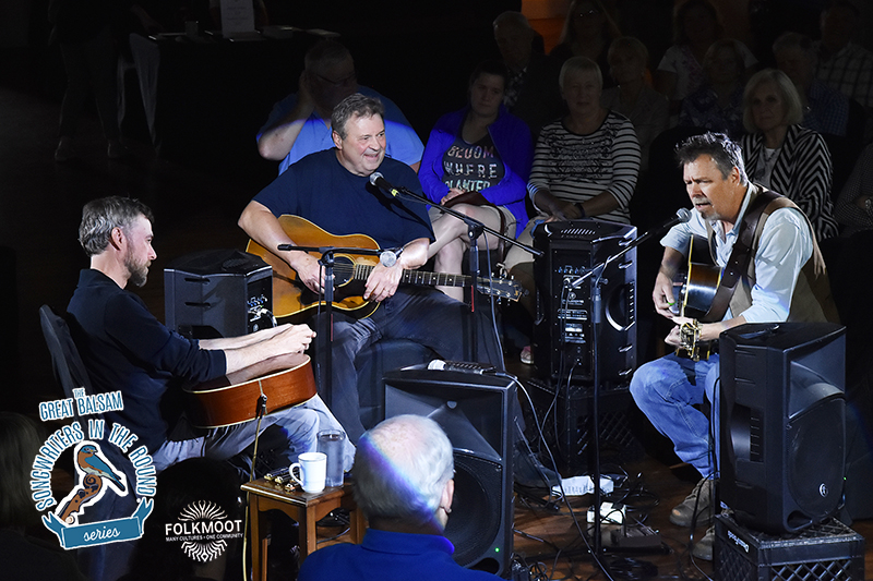 Scott Miller, David Childers and RB Morris in the Great Balsam Songwriters in the Round Series at Folkmoot's Queen Auditorium