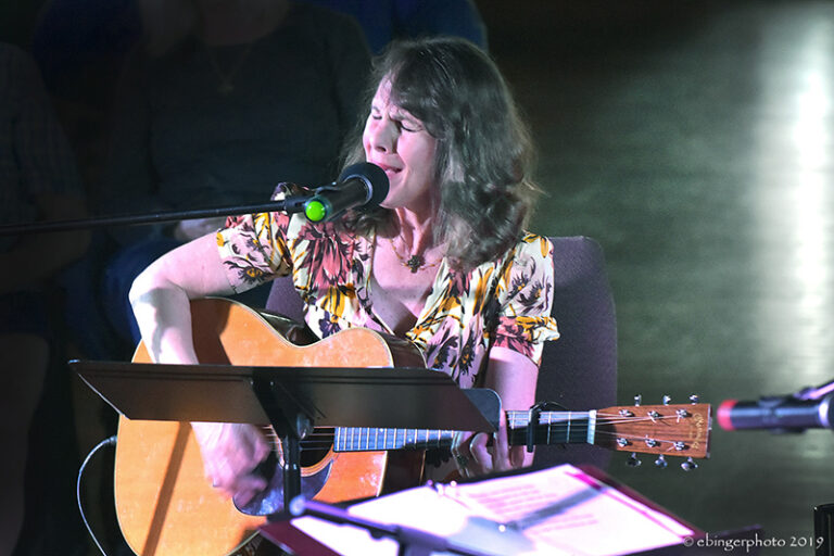 Irene Kelley at Great Balsam Songwriters in the Round. Folkmoot. Wayne Ebinger photo.